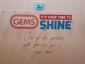 A board that says 'Gems It's your time to shine - one of the greatest gifts you can give is your time'