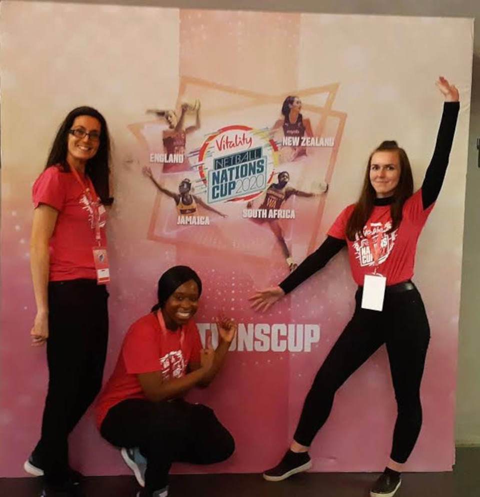 Akua and 2 of her fellow volunteers at the Netball World Cup