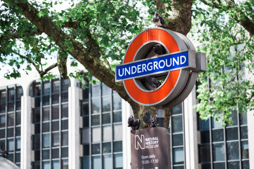 a London underground sign against a backdrop of trees and an office block