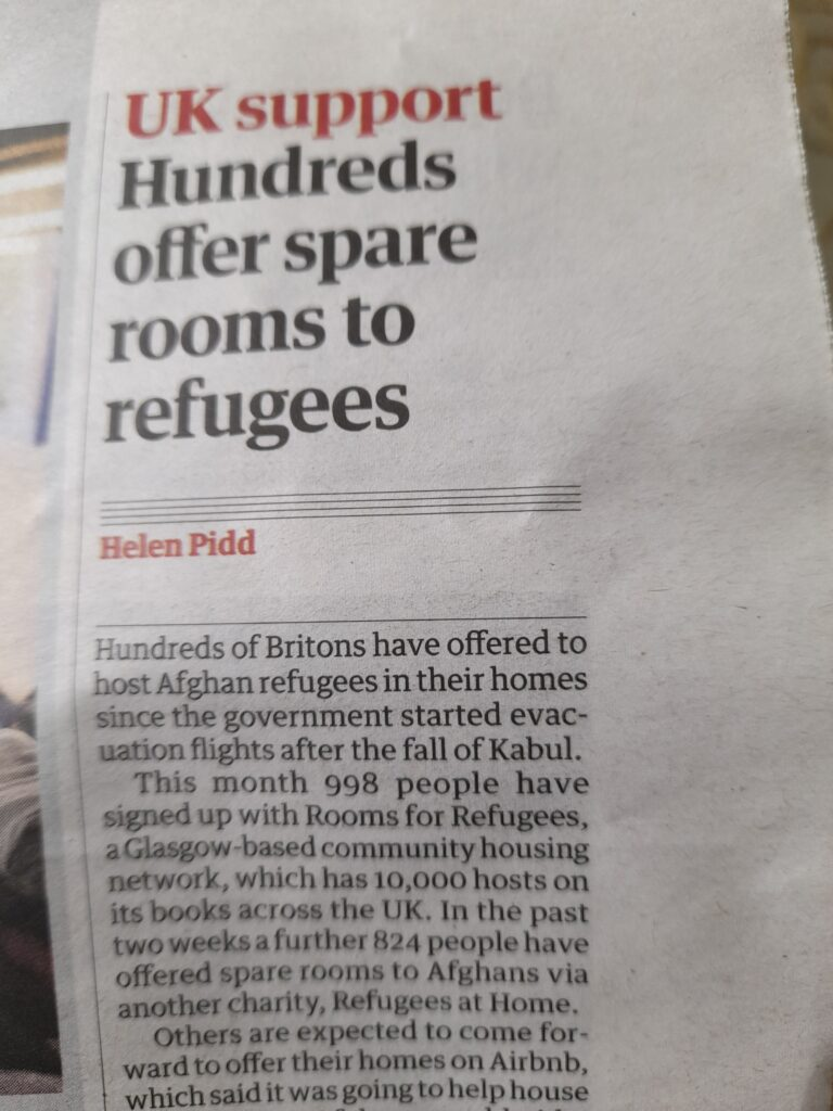 Photo of the first paragraph of a Guardian newspaper article with the title Hundreds offer spare rooms to refugees