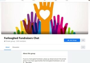 A screenshot from the furloughed fundraisers chat facebook page showing a drawing of multi-coloured hands with a white heart on the highest hand