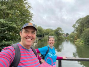 Me and my friend Andy standing on a bridge over the River Thames while taking part in the Alzheimer's Society Memory Walk 2021