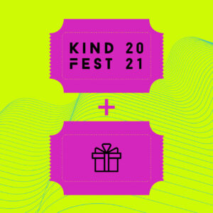 a yellow background with 2 bright pink tickets on it - one says Kindfest 2021, the other one has a picture of a present