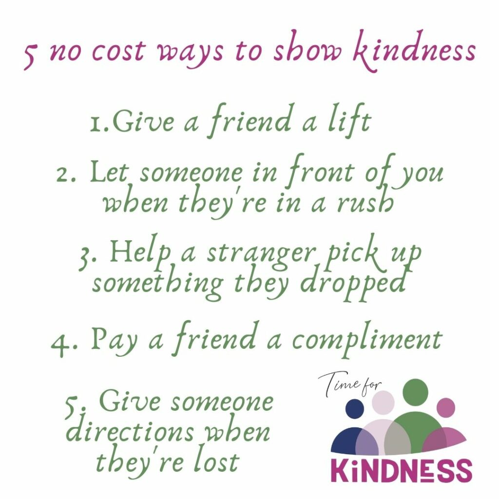 An image with the no cost ideas for showing kindness that are listed in this story